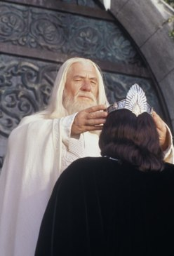 Not nearly so formal as this classic LOTR scene, though it DID involve a wizard, marrying his love on the spot, and an awaiting gathering of subjects. Hey, if it ain't broke...